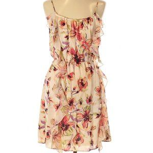 Sz 10 Tan Cream Pink Floral Ruffle Fit Flare Dress